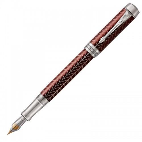 Перьевая ручка Parker (Паркер) Duofold Prestige Centennial Burgundy Chevron CT F в Екатеринбурге